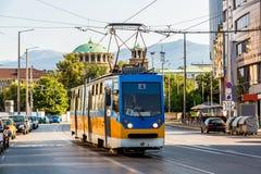 Gammal spårvagn i Sofia, Bulgarien Fotografering för Bildbyråer