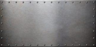 Gammal stålmetallplatta med nitar Royaltyfria Foton