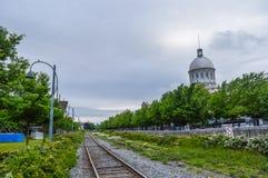 Gammal stångväg i gammal port av Montreal, Kanada Royaltyfri Bild