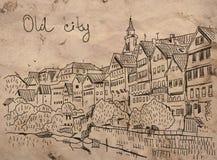 gammal stad vektor illustrationer