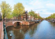 Gammal stad av Amsterdam Arkivbilder