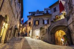 Gammal stad av Assisi på natten fotografering för bildbyråer