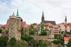Gammal stad av Bautzen, Sachsen, Tyskland Arkivfoton