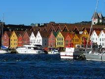 Gammal stad av Bergen, Norge Royaltyfri Bild