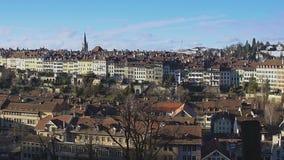 Gammal stad av Bernpanorama, turist- dragning i Schweiz, UNESCOarv stock video