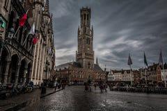 Gammal stad av Brugges i Belgien Fotografering för Bildbyråer