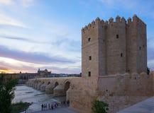 Gammal stad av Cordoba på skymning, Spanien Arkivfoto