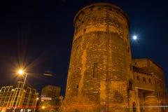 Gammal stad av Gdansk på natten, Polen Arkivbild