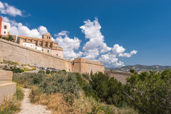 Gammal stad av Ibiza - Eivissa. Spanien Arkivfoton