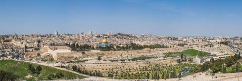 Gammal stad av Jerusalem, Israel Panorama Arkivfoton