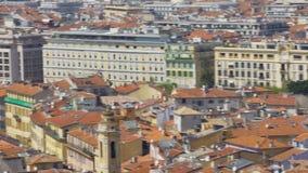 Gammal stad av Nice, takpanoramautsikt av byggnader och kyrkor, lopp stock video