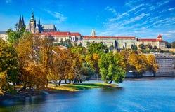 Gammal stad av Prague, Tjeckien över floden Vltava med den helgonVitus domkyrkan på horisont Ljus blå himmel för solig dag Praha Fotografering för Bildbyråer