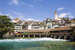 Gammal stad av Thun Arkivbilder