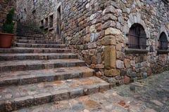 Gammal stad av Tossa de Mar i Spanien Arkivfoton