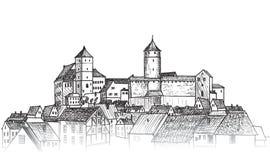 gammal stad Centra beskådar Medeltida europeiskt slottlandskap Penna vektor illustrationer