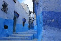 Gammal stad Chefchaouen, Marocko, blåa arkitekturbyggnader Arkivbilder