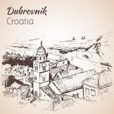 Gammal stad Dubrovnik, Kroatien skissa Arkivfoton