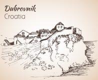Gammal stad Dubrovnik, Kroatien skissa royaltyfri bild