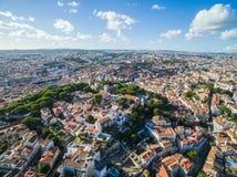 Gammal stad för flyg- sikt av den Lissabon staden Royaltyfria Bilder