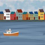 Gammal stad för panoramasikt illustration av stadslandskapet stock illustrationer