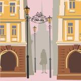 Gammal stad för tecknad film, höstlynne, flicka, nedgång vektor illustrationer