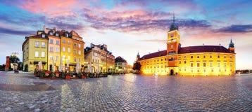 Gammal stad för Warszawa, Plaz Zamkowy, Polen, ingen Fotografering för Bildbyråer