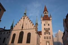 Gammal stad Hall Building i Munich, Tyskland Fotografering för Bildbyråer