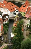 Gammal stad i Cesky Krumlov, Tjeckien, Czechia, arv Arkivfoton