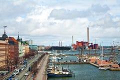 Gammal stad i Helsingfors, norr hamn, fru från den Uspenski domkyrkan royaltyfri fotografi