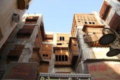 Gammal stad i Jeddah, Saudiarabien som är bekant som historisk Jeddah för ` `, Gamla och arvbyggnader och vägar i Jeddah Saudiara arkivfoto