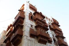 Gammal stad i Jeddah, Saudiarabien som är bekant som historisk Jeddah för ` `, Gamla och arvbyggnader och vägar i Jeddah när du s royaltyfria foton