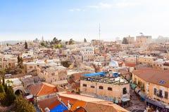 Gammal stad Jerusalem från över för armenisk jerusalem stadsdormition för abbey gammal fjärdedel royaltyfria bilder