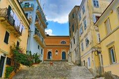 Gammal stad Korfu Grekland Arkivfoto