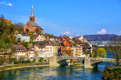 Gammal stad Laufenburg på Rhen, Tyskland Royaltyfri Fotografi