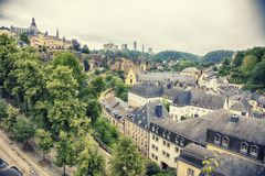 Gammal stad Luxembourg från över Royaltyfri Foto