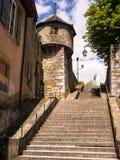 Gammal stad Neuchatel, Schweiz Fotografering för Bildbyråer