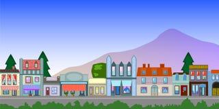 Gammal stad- och bergillustration med stället för text Royaltyfri Fotografi
