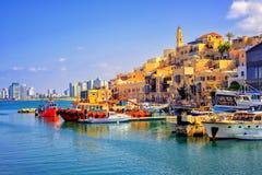 Gammal stad och port av Jaffa, Tel Aviv stad, Israel Fotografering för Bildbyråer