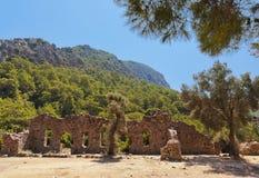Gammal stad Olympos i Turkiet arkivfoton