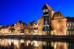 Gammal stad på Motlawa i Gdansk Arkivfoton