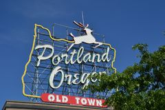 Gammal stad, Portland, Oregon tecken arkivfoto