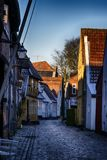 Gammal stad Ribe i Danmark fotografering för bildbyråer