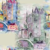 Gammal stad, vattenfärg som är handgjord Royaltyfria Foton