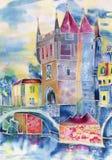 Gammal stad, vattenfärg som är handgjord Arkivfoton