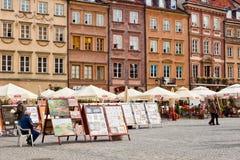 Gammal stadMarket Place fyrkant i Warszawa Fotografering för Bildbyråer