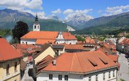 Gammal stadmitt av Kamnik, Slovenien Arkivfoto