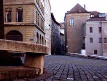 Gammal stadsgata i Genève, Schweitz Arkivbild