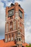 Gammal stadsstad Hall Gothic Tower i Torun Arkivfoton