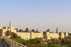 Gammal stadsvägg i Jerusalem Israel Royaltyfria Foton