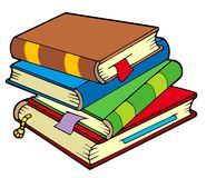 gammal stapel för böcker fyra Arkivfoto